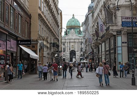 VIENNA, AUSTRIA-MAY 31, 2017: The pedestrian zone Herrengasse with a view towards Hofburg, Vienna