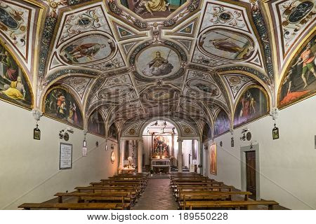 Volterra, Tuscany - May 21, 2017 - Most Notable Architectural Details Inside The San Lino Church