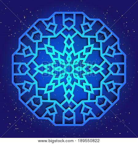 Sacral geometry 3d design. Mandala, arabesque in cosmos. Magic kabbalah figure