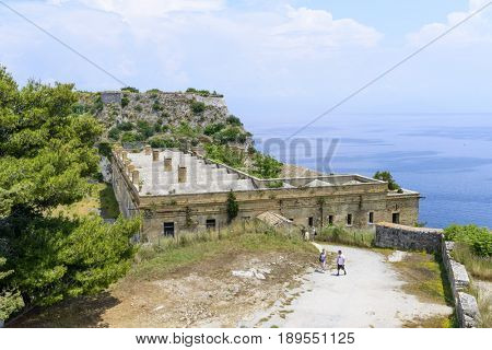 KERKYRA, GREECE - MAY 23: Tourists on the old Byzantine fortress on May 23, 2017 in Kerkyra, Corfu island in Greece.