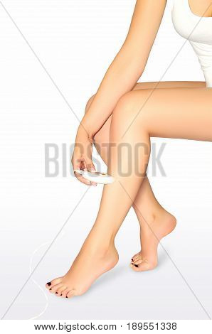 Foot epilation. Beautiful well-groomed female legs with the epilator isolated on white background