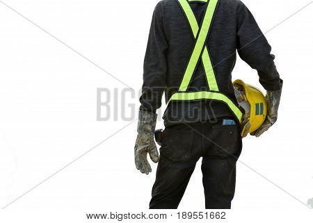back view civil engineer hold the helmet inspection worker job in construction site