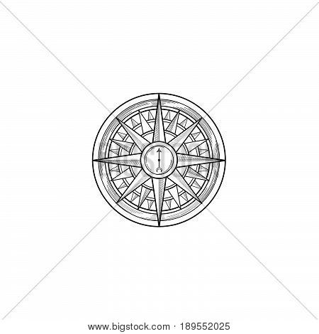 Compass wind rose hand drawn design element. Black wind rose sketch sign isolated on white