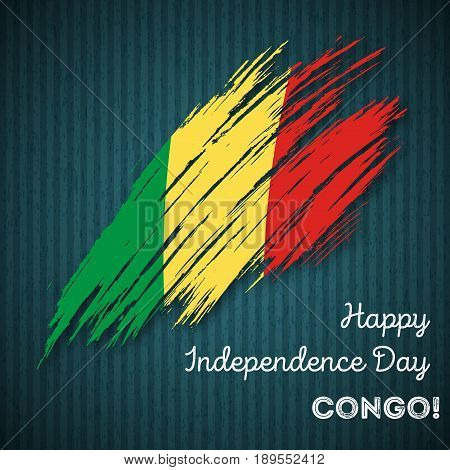 Congo Independence Day Patriotic Design. Expressive Brush Stroke In National Flag Colors On Dark Str
