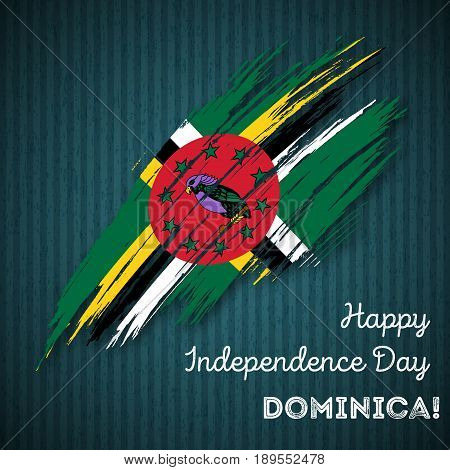 Dominica Independence Day Patriotic Design. Expressive Brush Stroke In National Flag Colors On Dark
