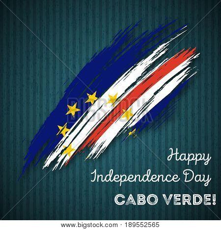Cabo Verde Independence Day Patriotic Design. Expressive Brush Stroke In National Flag Colors On Dar