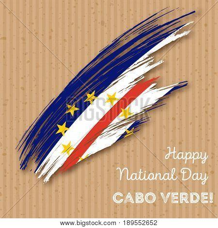 Cabo Verde Independence Day Patriotic Design. Expressive Brush Stroke in National Flag Colors on kraft paper background. Happy Independence Day Cabo Verde Vector Greeting Card. poster