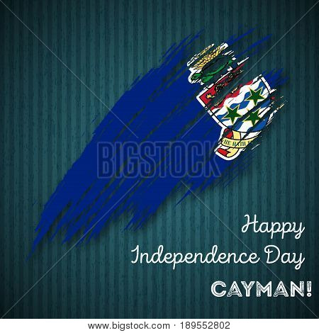 Cayman Independence Day Patriotic Design. Expressive Brush Stroke In National Flag Colors On Dark St