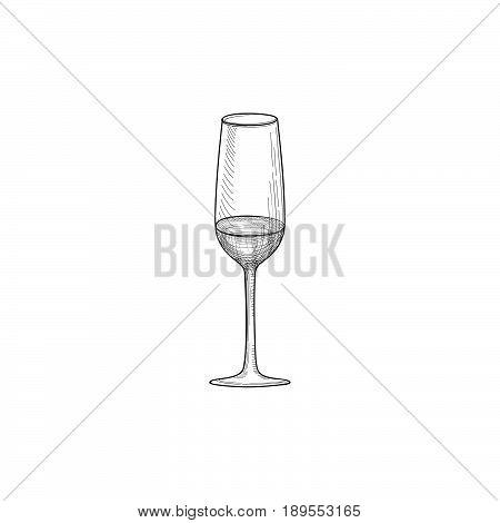 Half full wine glass. Engraving illustration of wineglass. Glassware sign