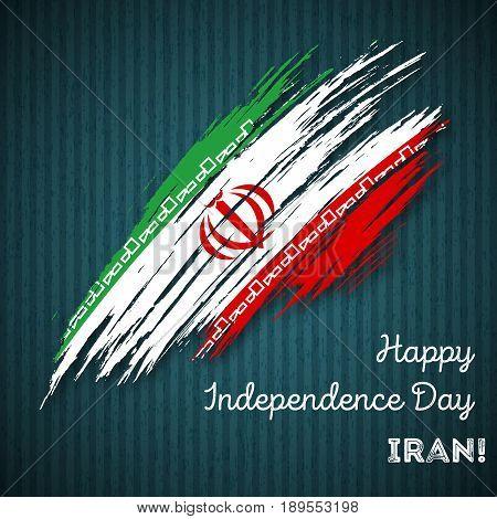 Iran Independence Day Patriotic Design. Expressive Brush Stroke In National Flag Colors On Dark Stri