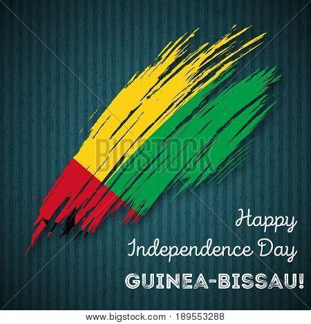 Guinea-bissau Independence Day Patriotic Design. Expressive Brush Stroke In National Flag Colors On