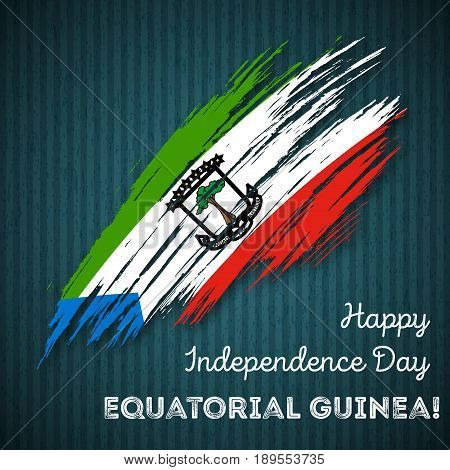 Equatorial Guinea Independence Day Patriotic Design. Expressive Brush Stroke In National Flag Colors