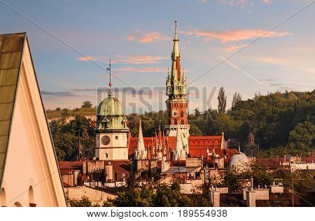 Roofs of the churches in sunset time. Krakow