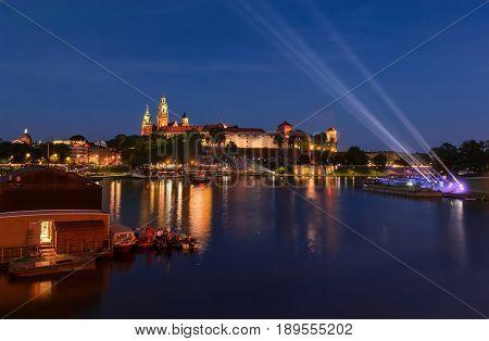 Castle on Wawel hill in the evening Krakow Poland Europe.