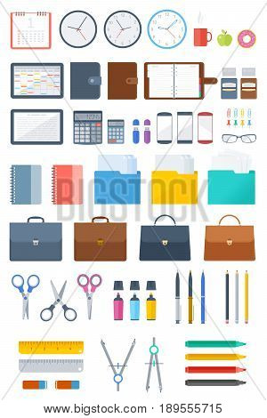 Office and school supply flat icon set. Business and education stationery vector illustations set. Isolated on white background infographic elements for web, internet, presentations and social media.