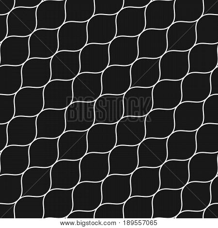 Vector seamless pattern thin diagonal wavy lines. Subtle texture of mesh, fishnet lace weaving smooth grid. Dark monochrome geometric background. Design for prints, decor, wrapping, cover design, web background texture, cloth pattern
