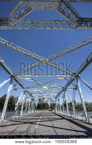 Steel beams of a bridge in Riverfront Park in Spokane Washington.