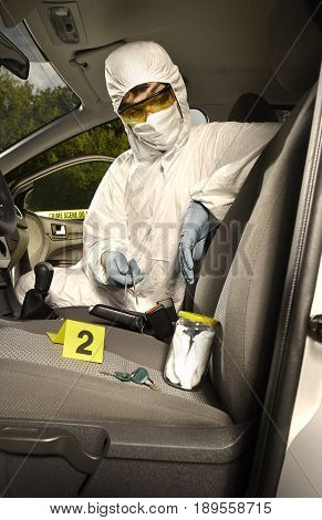Crime scene investigation - collecting of odor traces from car keys