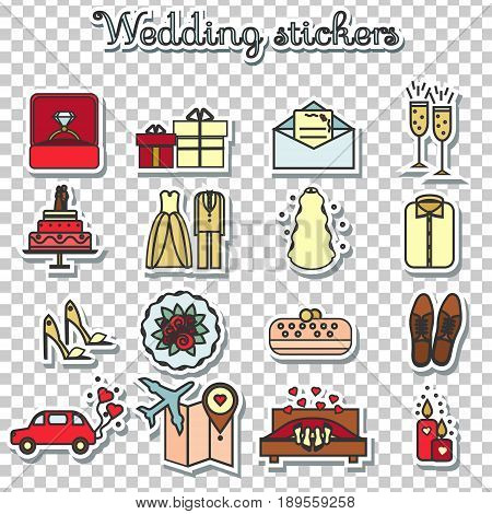 Wedding stickers. Marriage engagement honeymoon vector icons set. Bride and groom theme. Isolated design elements.