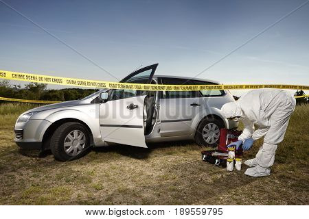 Crime scene investigation - collecting of evidences around car