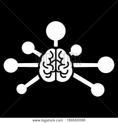 White Mind Control Links interface icon. Vector pictograph style is a flat symbol on diagonal hatch transparent background.