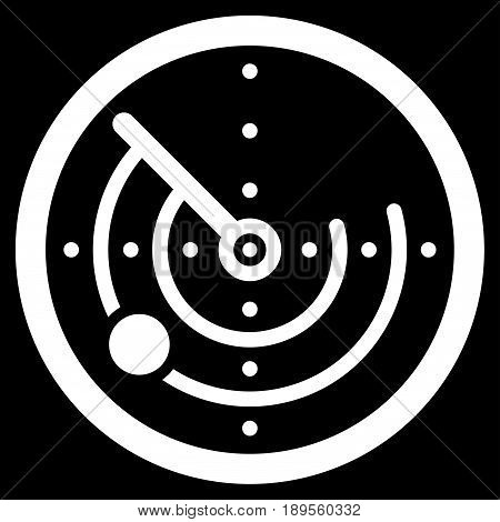 White Radar interface pictogram. Vector pictogram style is a flat symbol on diagonal hatch transparent background.