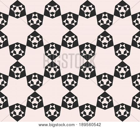 Vector seamless pattern, abstract geometric floral mosaic monochrome texture, simple geometrical shapes stars triangles hexagons repeat tiles background. Contrast design element for decor, digital background, web background texture