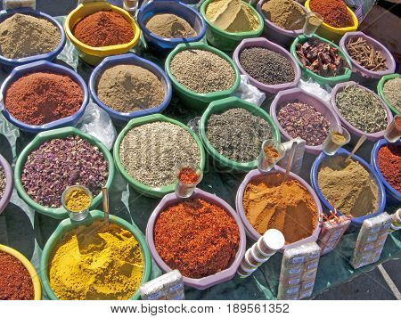 colorful spices at the market in Tunis