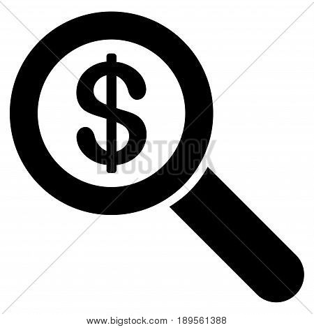 Black Financial Audit Loupe interface toolbar icon. Vector pictogram style is a flat symbol on diagonal hatch transparent background.