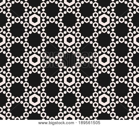 Vector hexagons texture, geometric seamless pattern, perforated hex delicate hexagonal grid background. Abstract monochrome subtle background repeat tiles. Dark design for prints, decor seamless background, fabric texture, cover design