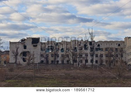 The Destroyed Building During The Hostilities Of 2014