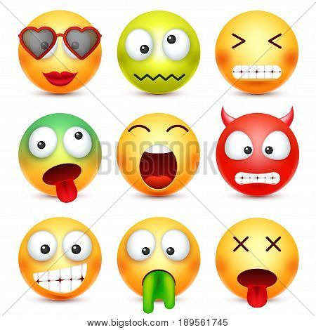 Smiley set. Green, red, happy, sad, ill, tired emoticon. Yellow face with emotions. Facial expression. 3d realistic emoji. Funny cartoon character.Mood. Web icon. Vector illustration.