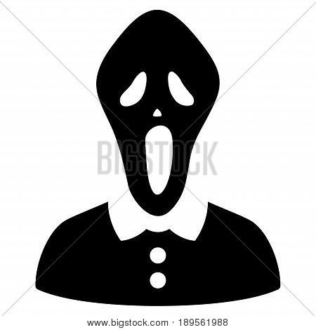 Black Horror toolbar pictogram. Vector pictograph style is a flat symbol on diagonal hatch transparent background.