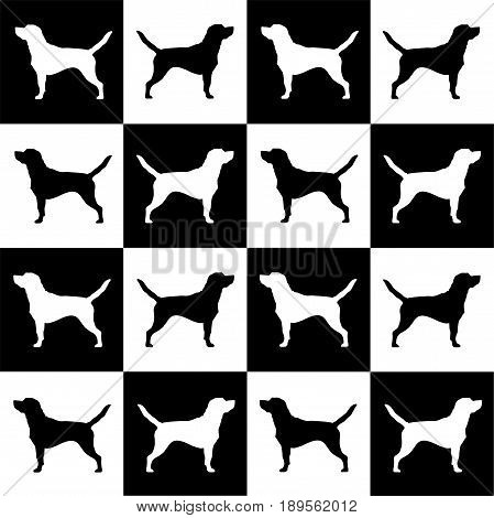 Dog breed beagle on black and white squares and round. It seems like chess board. All objects are isolated and you can move them. Dog breed vector black silhouette. Dog breed black icons isolated on white background. Dog breed black vector icon illustrati