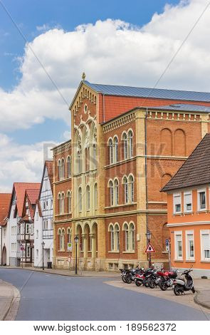 HAMELN, GERMANY - MAY 22, 2017: Colorful school building in the historic center of Hameln, Germany
