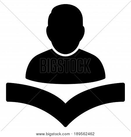 Black Reader Boy interface toolbar pictogram. Vector pictograph style is a flat symbol on diagonal hatch transparent background.