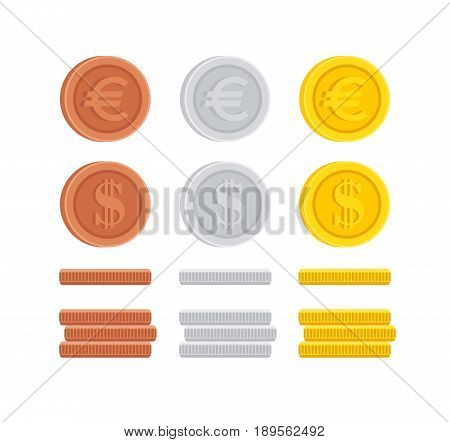 Dollar and Euro coin cent sign icon flat design money symbol illustration collection set