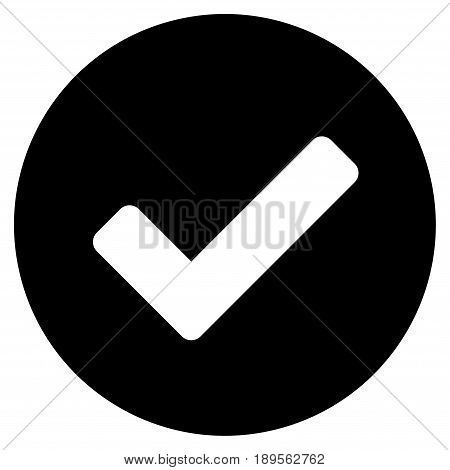 Black Yes interface pictogram. Vector pictograph style is a flat symbol on diagonal hatch transparent background.