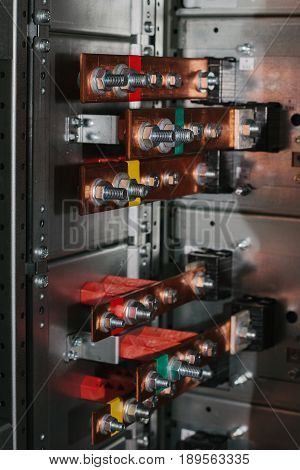 Copper busbar. Uninterrupted power. Electrical power Voltage compartment