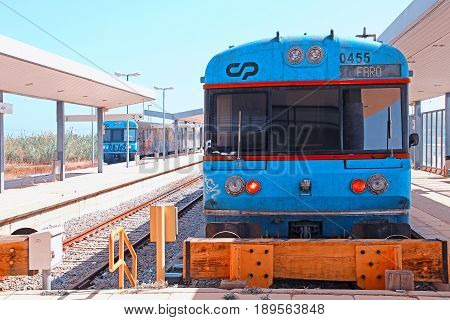 LAGOS, PORTUGAL - SEPTEMBER 26, 2015: Regional train to Faro at the station at Lagos, Algarve, Portugal