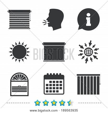 Louvers icons. Plisse, rolls, vertical and horizontal. Window blinds or jalousie symbols. Information, go to web and calendar icons. Sun and loud speak symbol. Vector