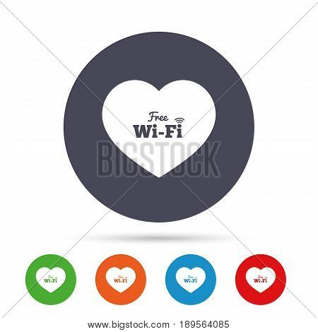 Love Free wifi sign. Wifi symbol. Wireless Network icon. Wifi zone. Round colourful buttons with flat icons. Vector