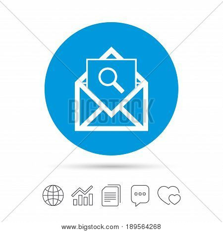 Mail search icon. Envelope symbol. Message sign. Mail navigation button. Copy files, chat speech bubble and chart web icons. Vector