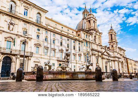 The famous Navona square /Piazza Navona/. Sant' Agnese church and La Fontana del Moro in front.