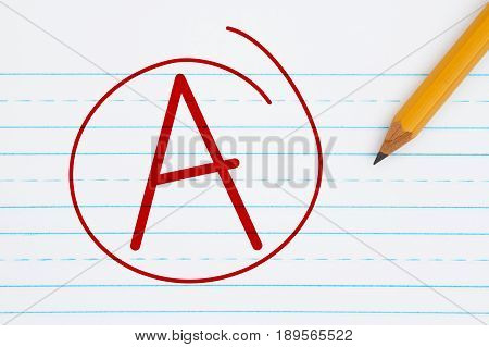 Getting a grade A Retro lined paper with a pencil with text A and a circle in red