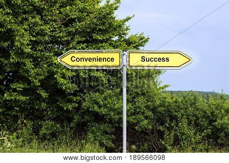 Yellow road signs pointing in opposite directions with text Convenience Success green bushes and a blue sky in the background symbol concept