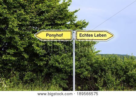 Yellow road signs pointing in opposite directions with german text Ponyhof Echtes Leben that means Pony Farm Real Life green bushes and a blue sky in the background symbol concept