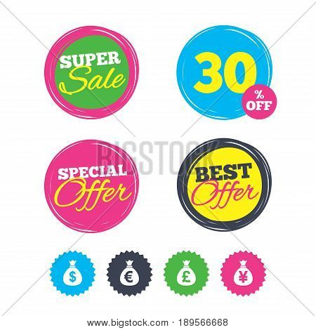 Super sale and best offer stickers. Money bag icons. Dollar, Euro, Pound and Yen symbols. USD, EUR, GBP and JPY currency signs. Shopping labels. Vector