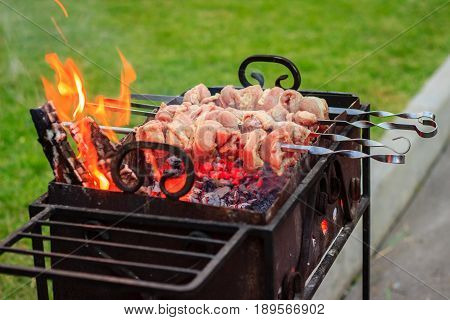 Appetizing meat is fried outdoors on a brazier strung on a metal skewer
