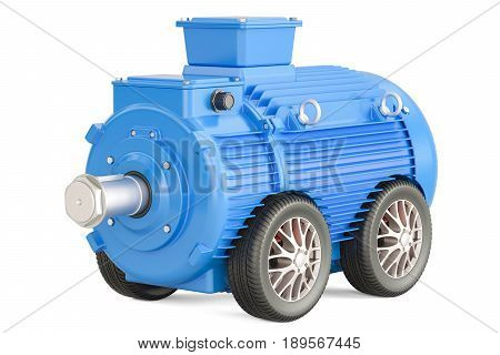 Blue industrial electric motor on car wheels 3D rendering isolated on white background
